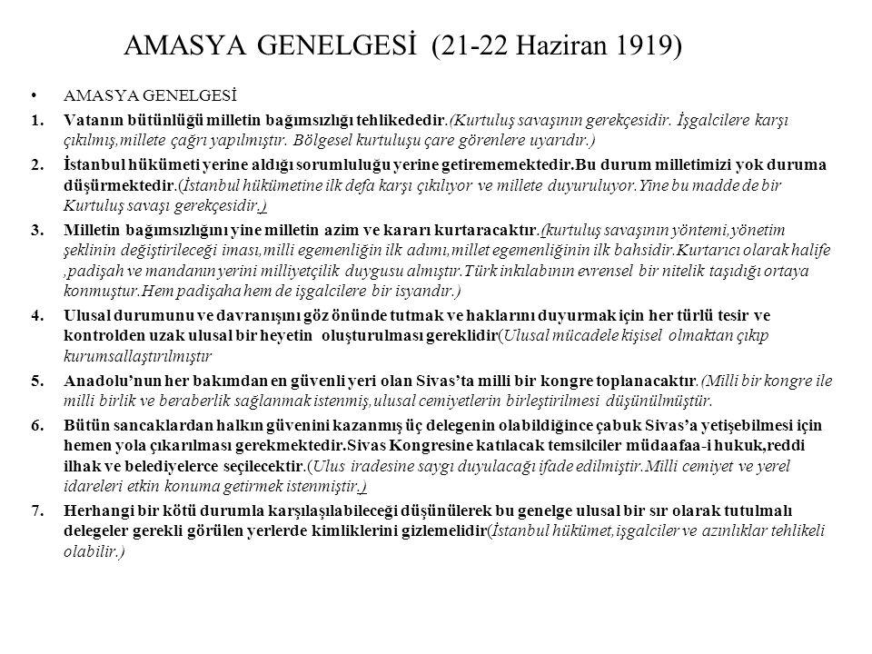 AMASYA GENELGESİ (21-22 Haziran 1919)