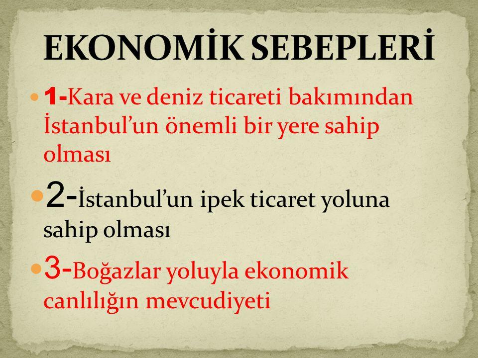 2-İstanbul'un ipek ticaret yoluna sahip olması