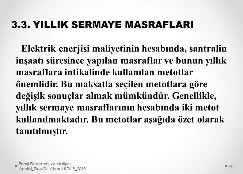 3.3. YILLIK SERMAYE MASRAFLARI