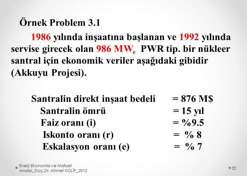 Santralin direkt inşaat bedeli = 876 M$ Eskalasyon oranı (e) = % 7