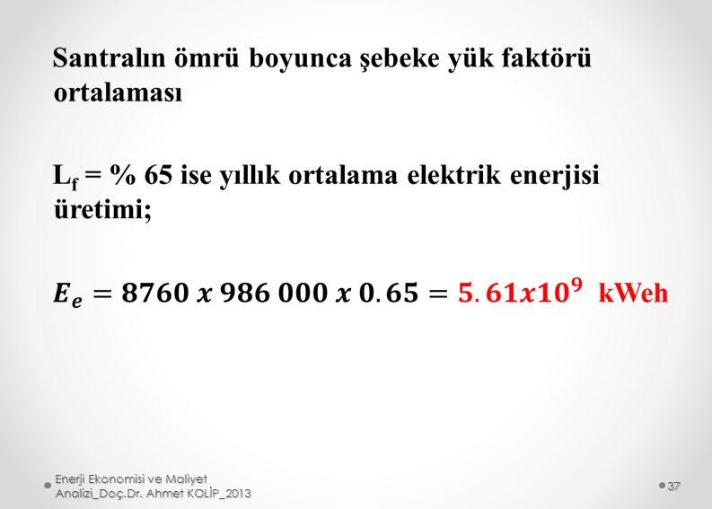 Enerji Ekonomisi ve Maliyet Analizi_Doç.Dr. Ahmet KOLİP_2013