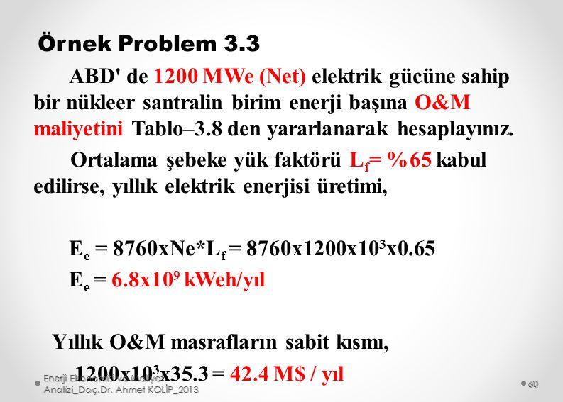 Örnek Problem 3.3 ABD de 1200 MWe (Net) elektrik gücüne sahip bir nükleer santralin birim enerji başına O&M maliyetini Tablo–3.8 den yararlanarak hesaplayınız. Ortalama şebeke yük faktörü Lf= %65 kabul edilirse, yıllık elektrik enerjisi üretimi, Ee = 8760xNe*Lf = 8760x1200x103x0.65 Ee = 6.8x109 kWeh/yıl Yıllık O&M masrafların sabit kısmı, 1200x103x35.3 = 42.4 M$ / yıl