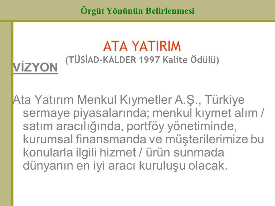ATA YATIRIM (TÜSİAD-KALDER 1997 Kalite Ödülü)