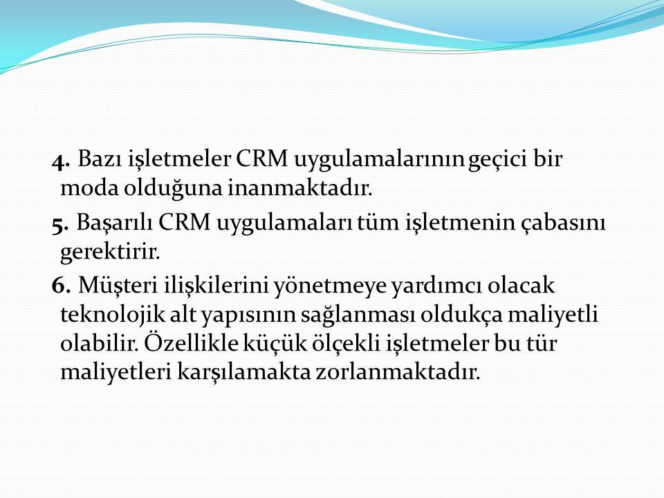 4. Bazı işletmeler CRM uygulamalarının geçici bir moda olduğuna inanmaktadır.