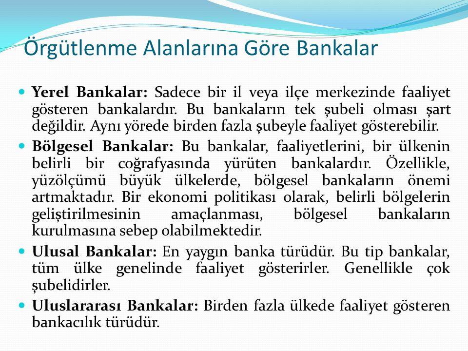 Örgütlenme Alanlarına Göre Bankalar