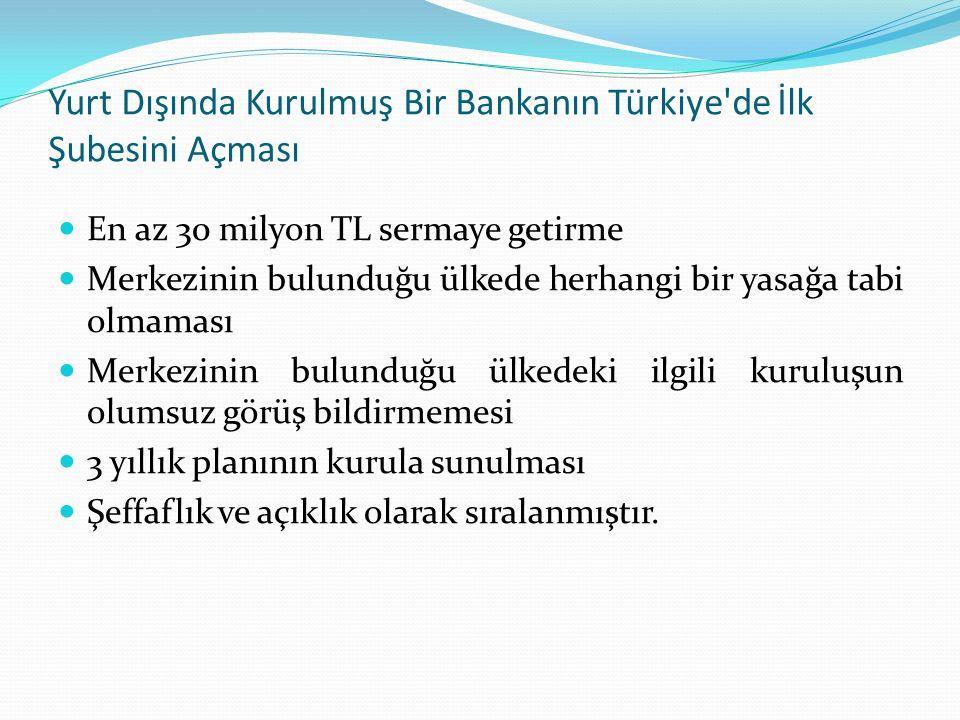 Yurt Dışında Kurulmuş Bir Bankanın Türkiye de İlk Şubesini Açması