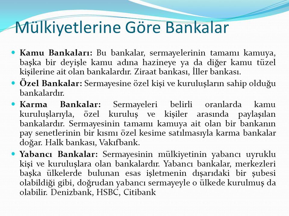 Mülkiyetlerine Göre Bankalar