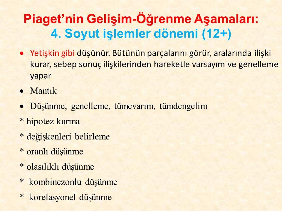 Piaget'nin Gelişim-Öğrenme Aşamaları: 4. Soyut işlemler dönemi (12+)