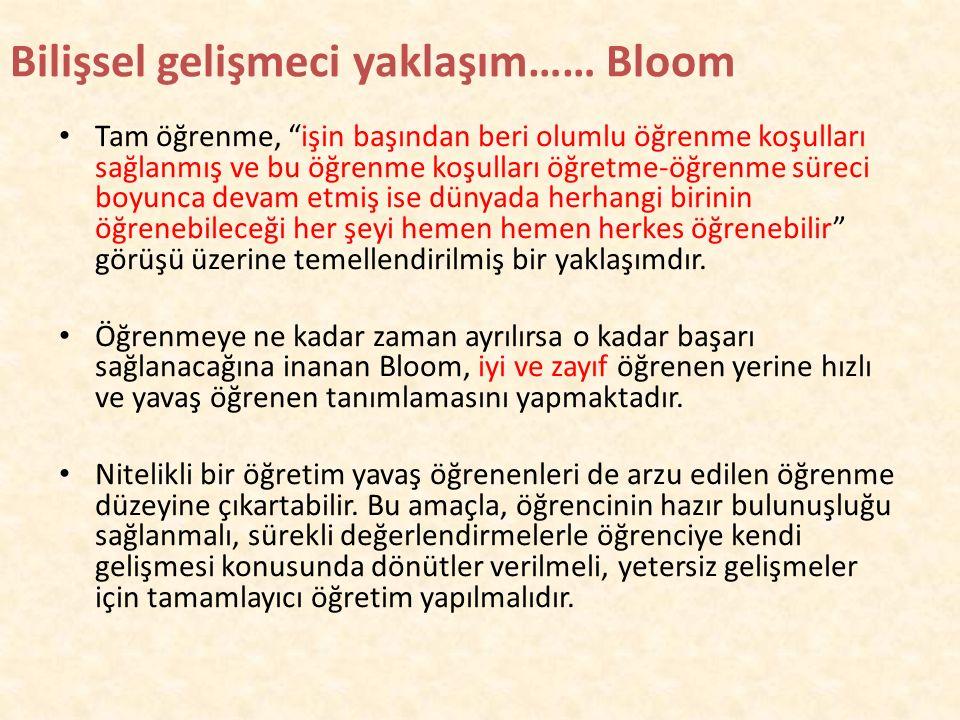 Bilişsel gelişmeci yaklaşım…… Bloom