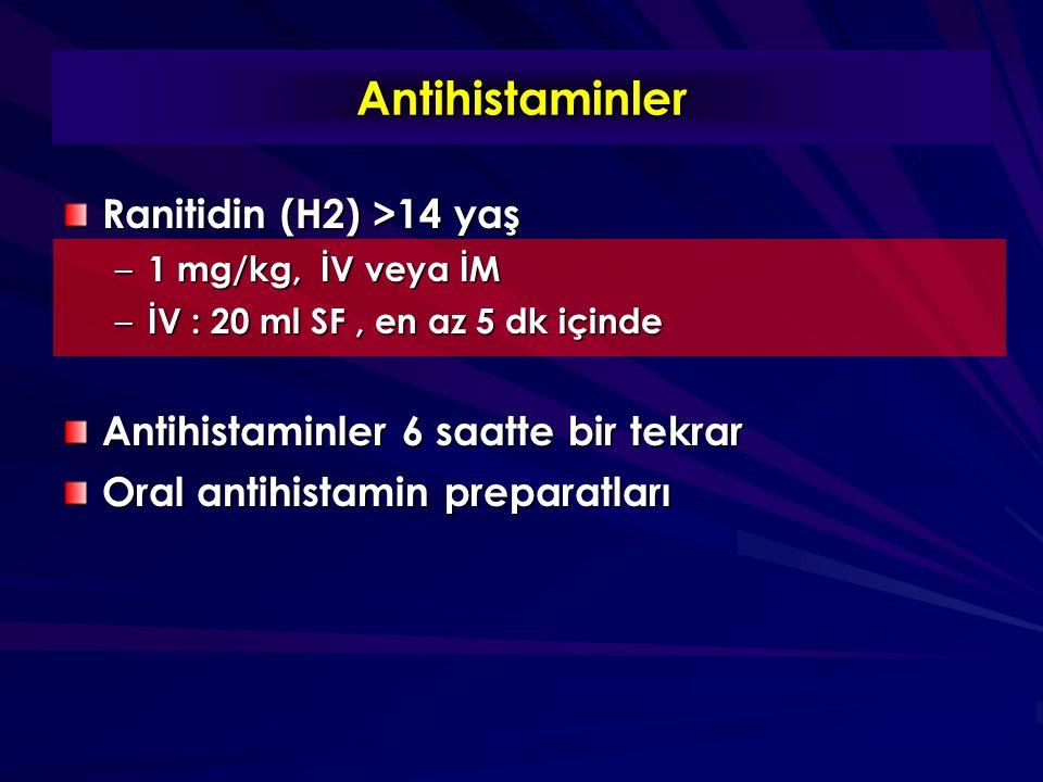 Antihistaminler Ranitidin (H2) >14 yaş