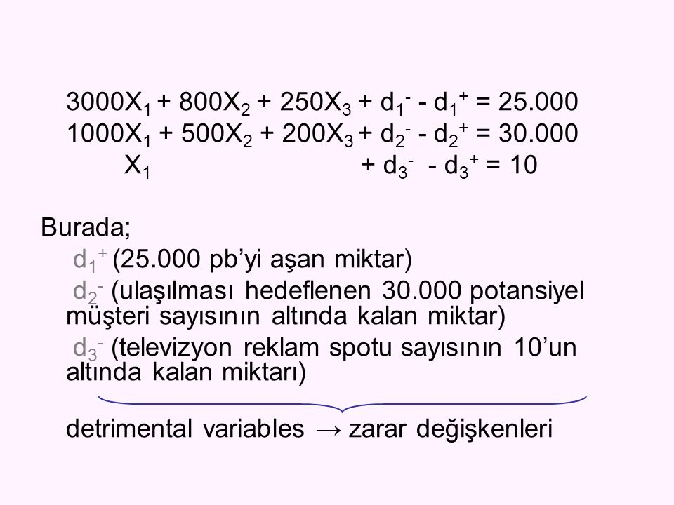 3000X1 + 800X2 + 250X3 + d1- - d1+ = 25.000 1000X1 + 500X2 + 200X3 + d2- - d2+ = 30.000. X1 + d3- - d3+ = 10.