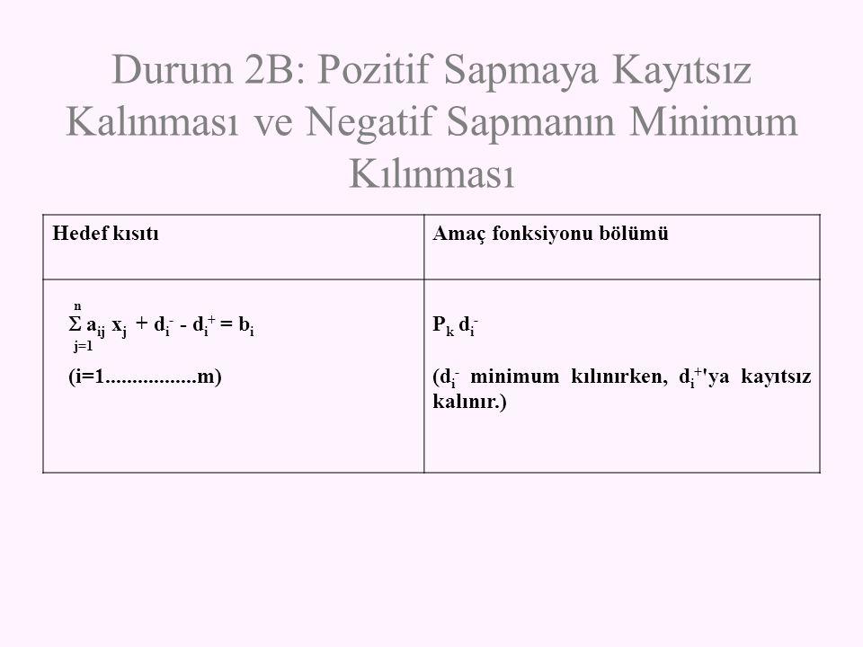 Durum 2B: Pozitif Sapmaya Kayıtsız Kalınması ve Negatif Sapmanın Minimum Kılınması