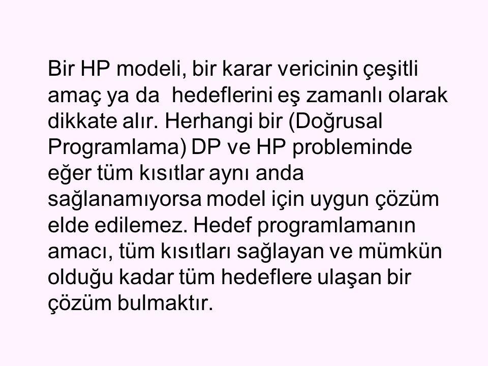 Bir HP modeli, bir karar vericinin çeşitli amaç ya da hedeflerini eş zamanlı olarak dikkate alır.