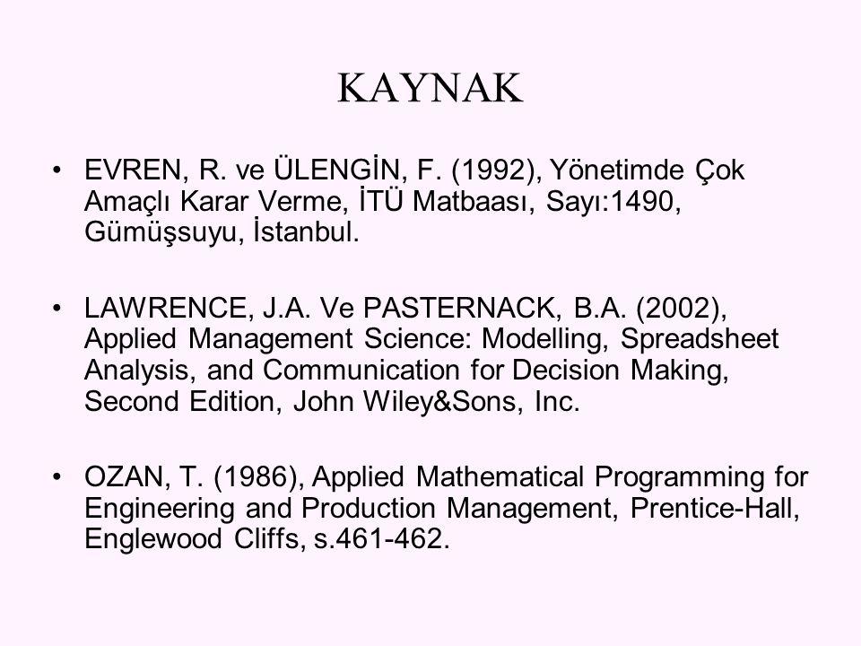 KAYNAK EVREN, R. ve ÜLENGİN, F. (1992), Yönetimde Çok Amaçlı Karar Verme, İTÜ Matbaası, Sayı:1490, Gümüşsuyu, İstanbul.