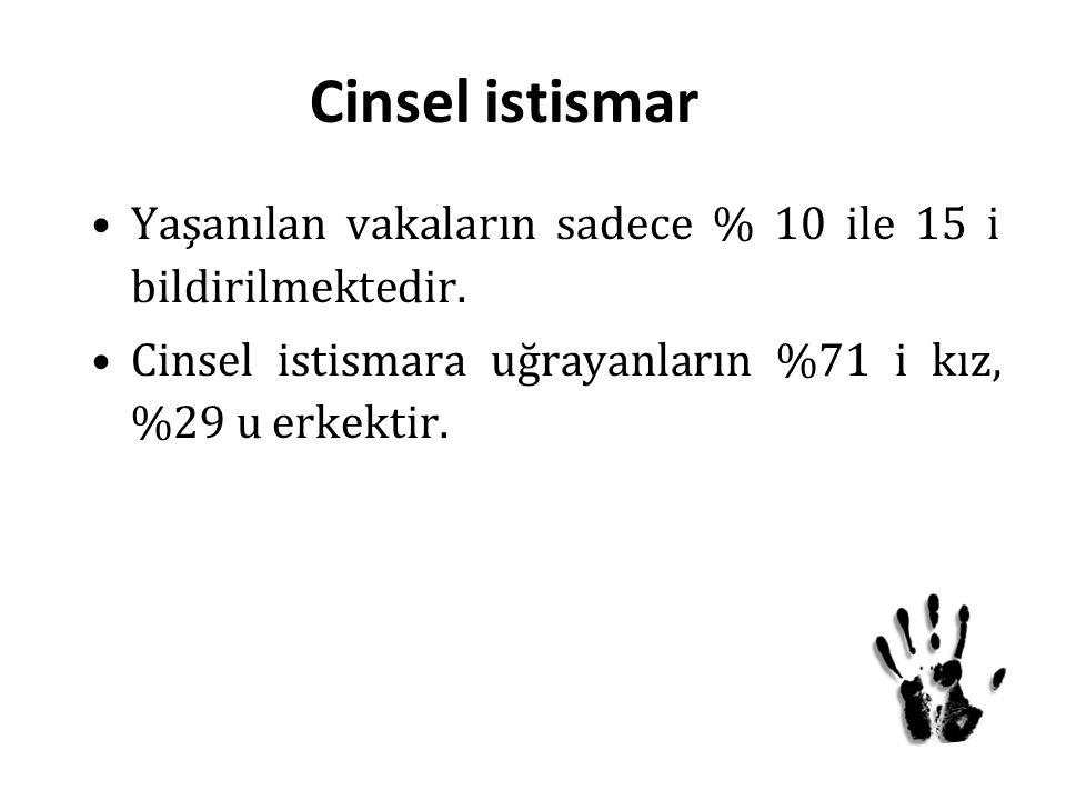 Cinsel istismar Yaşanılan vakaların sadece % 10 ile 15 i bildirilmektedir.