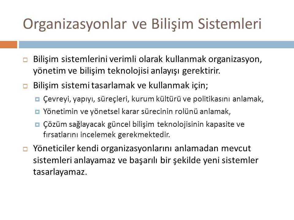 Organizasyonlar ve Bilişim Sistemleri