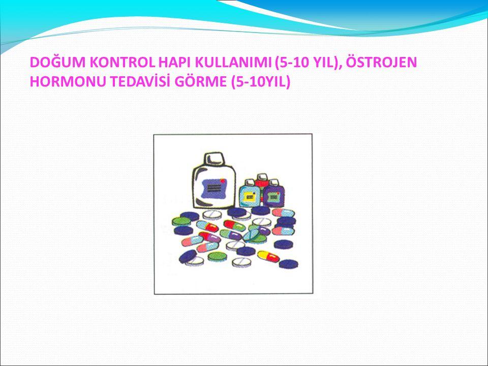 DOĞUM KONTROL HAPI KULLANIMI (5-10 YIL), ÖSTROJEN HORMONU TEDAVİSİ GÖRME (5-10YIL)