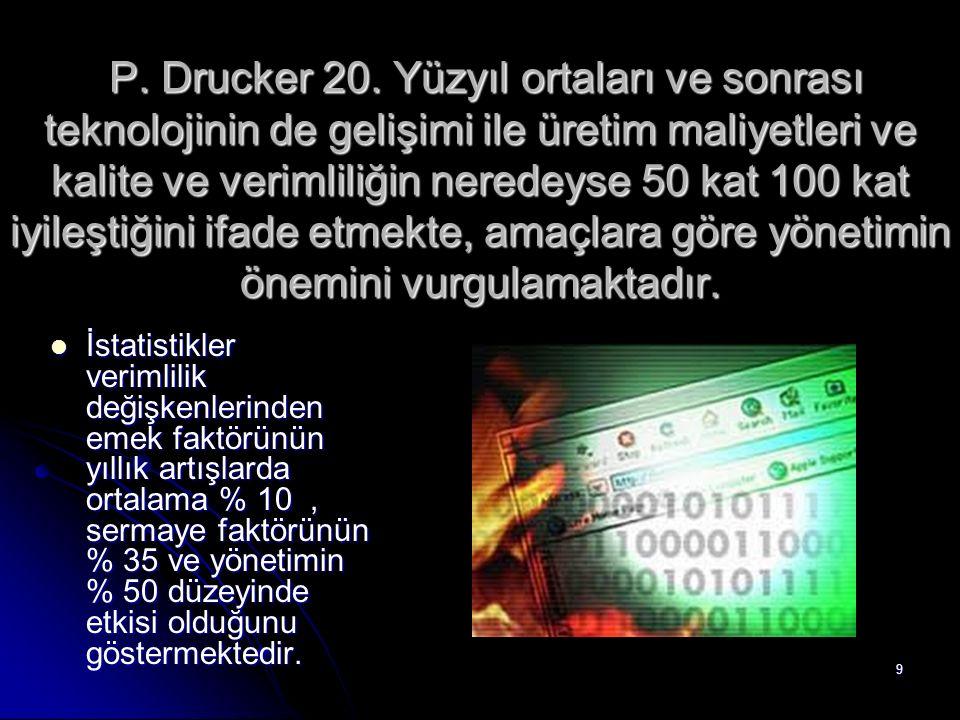 P. Drucker 20. Yüzyıl ortaları ve sonrası teknolojinin de gelişimi ile üretim maliyetleri ve kalite ve verimliliğin neredeyse 50 kat 100 kat iyileştiğini ifade etmekte, amaçlara göre yönetimin önemini vurgulamaktadır.