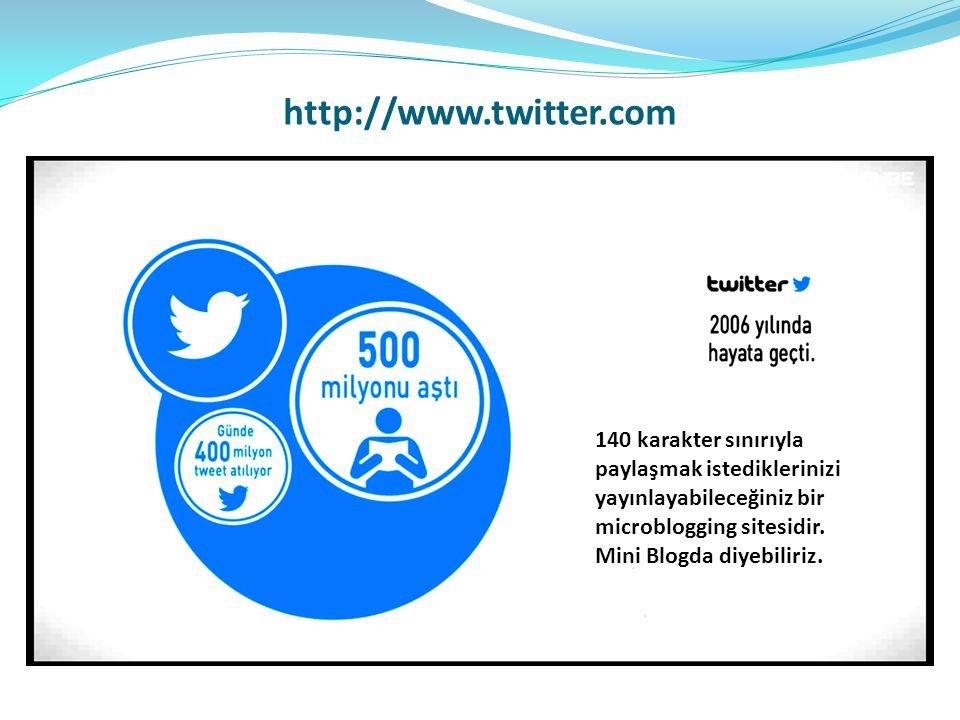 http://www.twitter.com 140 karakter sınırıyla paylaşmak istediklerinizi yayınlayabileceğiniz bir microblogging sitesidir.