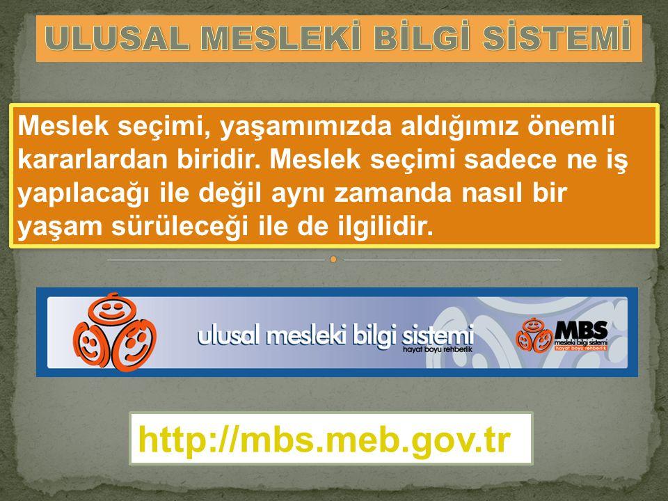http://mbs.meb.gov.tr ULUSAL MESLEKİ BİLGİ SİSTEMİ