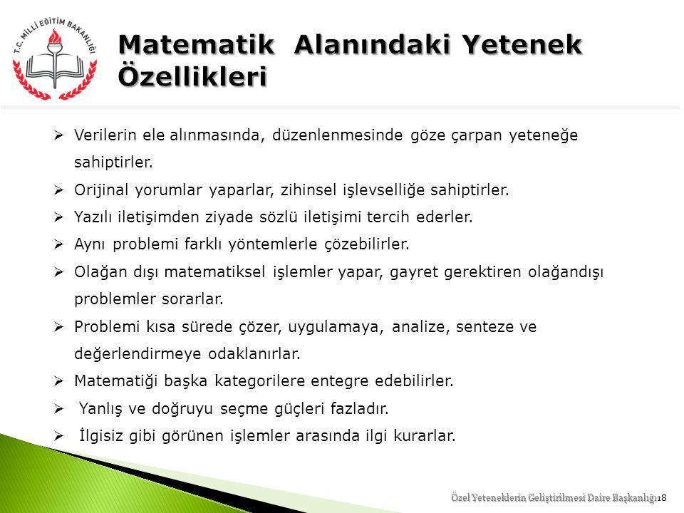 Matematik Alanındaki Yetenek Özellikleri