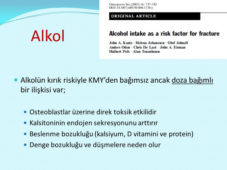 Alkol Alkolün kırık riskiyle KMY'den bağımsız ancak doza bağımlı bir ilişkisi var; Osteoblastlar üzerine direk toksik etkilidir.
