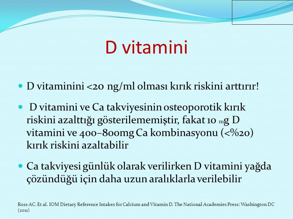 D vitamini D vitaminini <20 ng/ml olması kırık riskini arttırır!