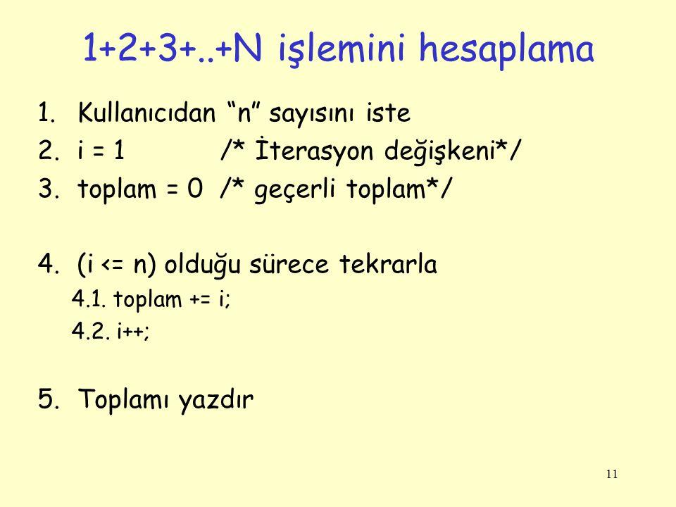 1+2+3+..+N işlemini hesaplama