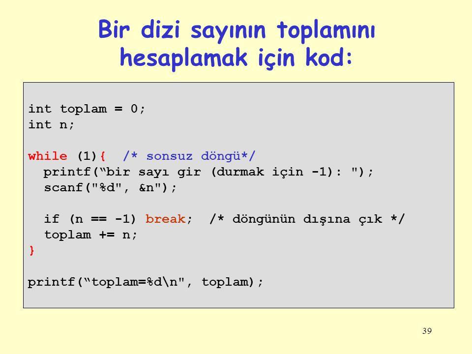 Bir dizi sayının toplamını hesaplamak için kod: