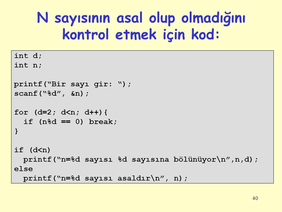 N sayısının asal olup olmadığını kontrol etmek için kod: