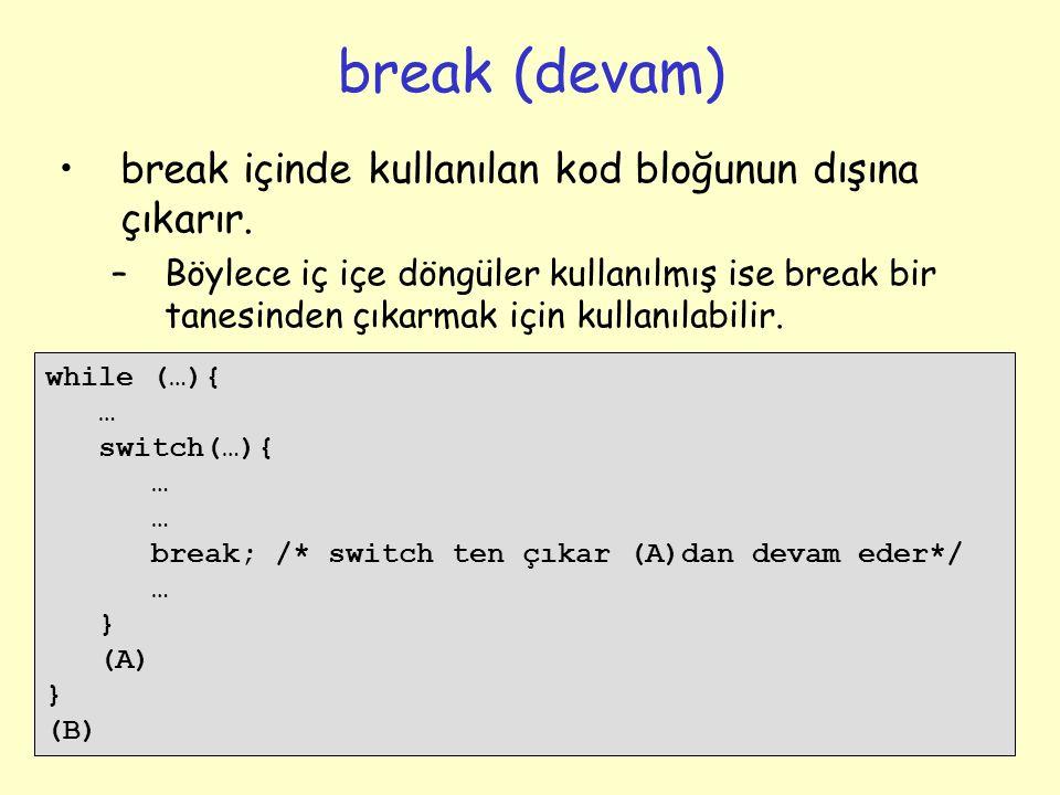break (devam) break içinde kullanılan kod bloğunun dışına çıkarır.