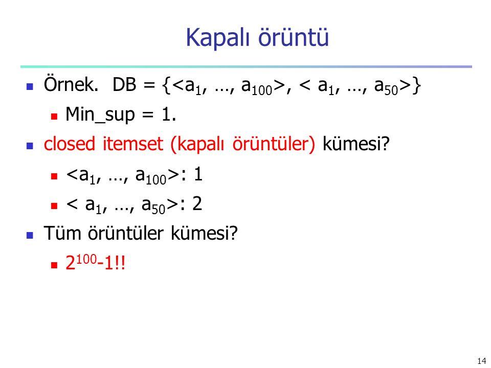 Kapalı örüntü Örnek. DB = {<a1, …, a100>, < a1, …, a50>}