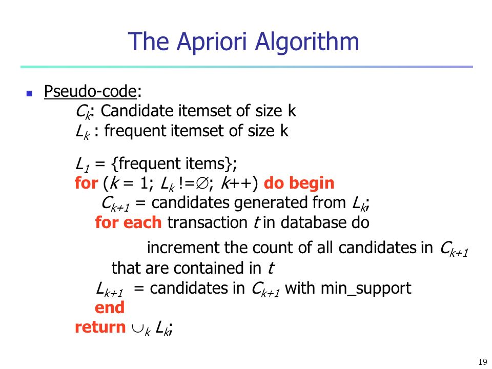 The Apriori Algorithm Pseudo-code: Ck: Candidate itemset of size k. Lk : frequent itemset of size k.