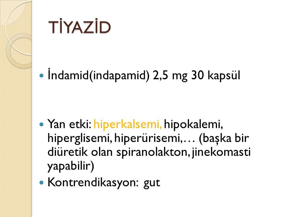 TİYAZİD İndamid(indapamid) 2,5 mg 30 kapsül