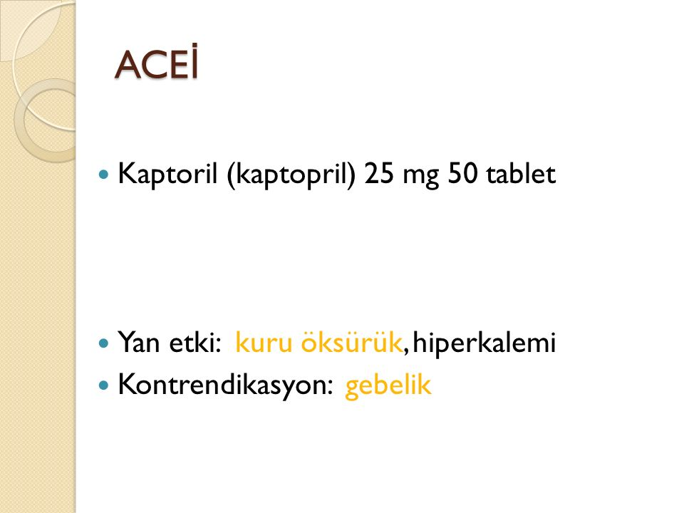 ACEİ Kaptoril (kaptopril) 25 mg 50 tablet
