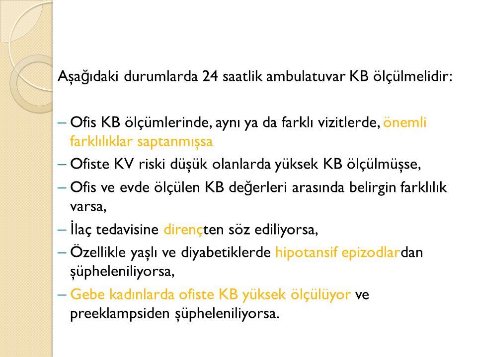 Aşağıdaki durumlarda 24 saatlik ambulatuvar KB ölçülmelidir: