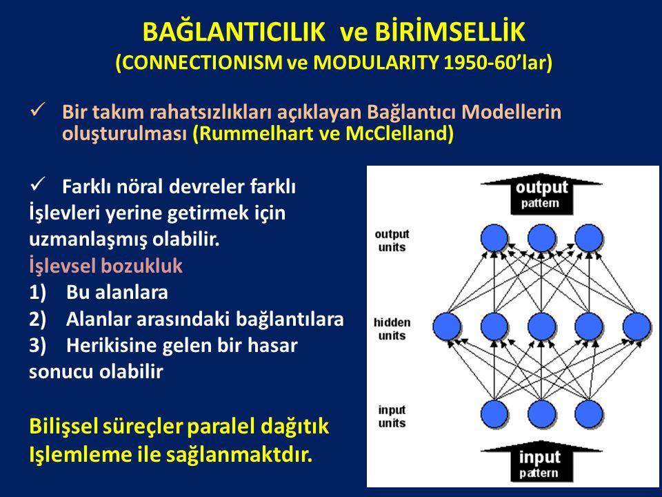 BAĞLANTICILIK ve BİRİMSELLİK (CONNECTIONISM ve MODULARITY 1950-60'lar)