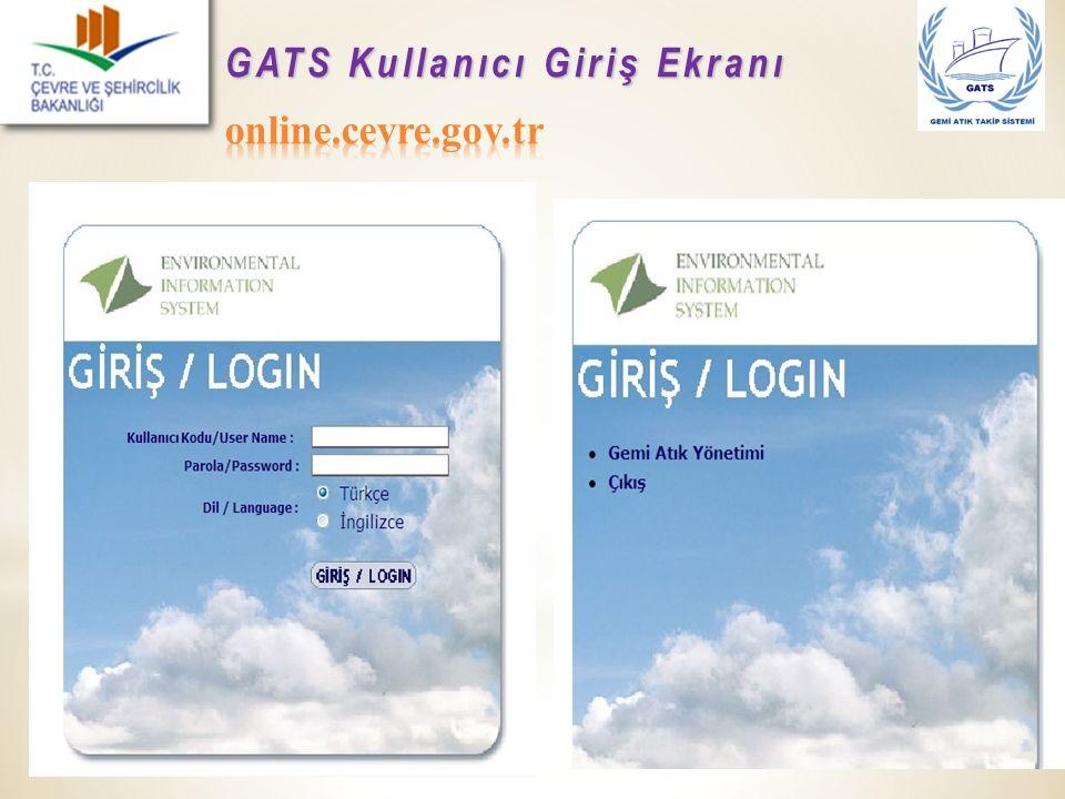 GATS Kullanıcı Giriş Ekranı online.cevre.gov.tr