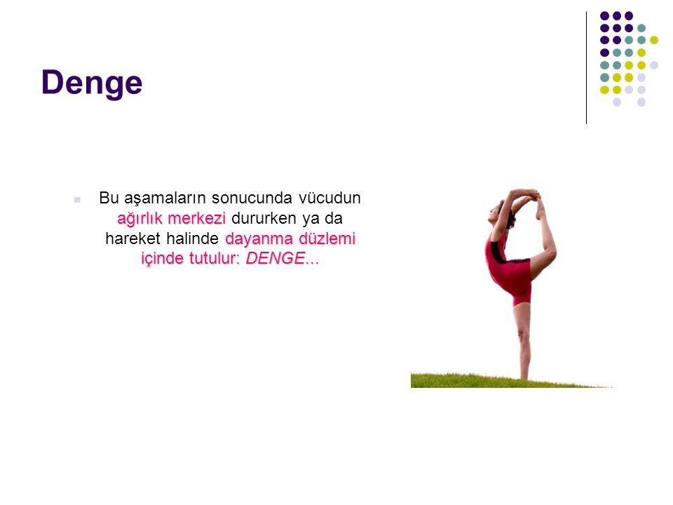 Denge Bu aşamaların sonucunda vücudun ağırlık merkezi dururken ya da hareket halinde dayanma düzlemi içinde tutulur: DENGE...