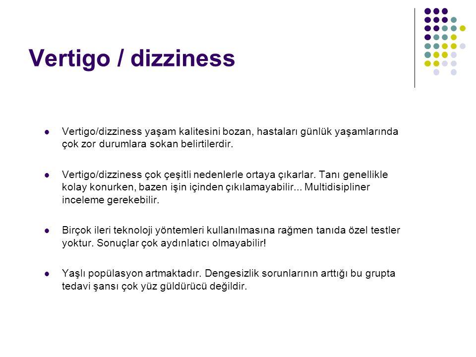Vertigo / dizziness Vertigo/dizziness yaşam kalitesini bozan, hastaları günlük yaşamlarında çok zor durumlara sokan belirtilerdir.