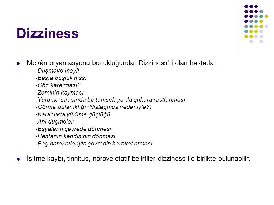 Dizziness Mekân oryantasyonu bozukluğunda: Dizziness' i olan hastada... -Düşmeye meyil. -Başta boşluk hissi.