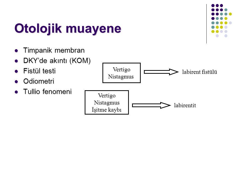 Otolojik muayene Timpanik membran DKY'de akıntı (KOM) Fistül testi