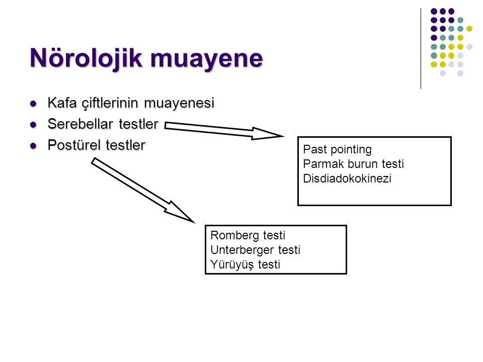 Nörolojik muayene Kafa çiftlerinin muayenesi Serebellar testler