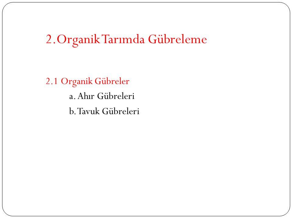 2.Organik Tarımda Gübreleme