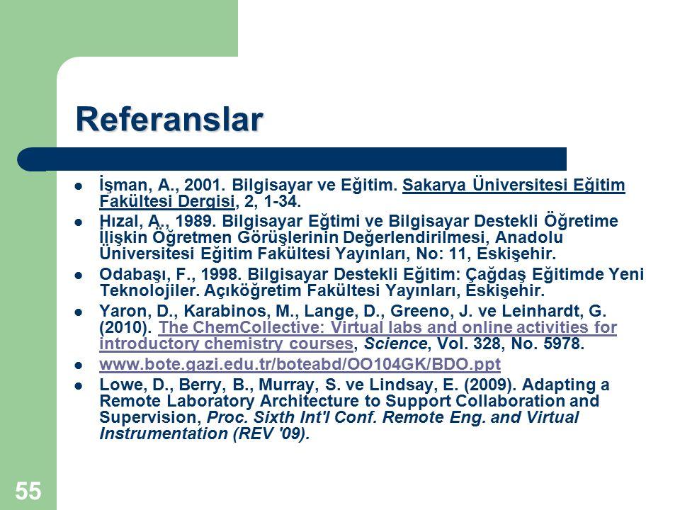 Referanslar İşman, A., 2001. Bilgisayar ve Eğitim. Sakarya Üniversitesi Eğitim Fakültesi Dergisi, 2, 1-34.