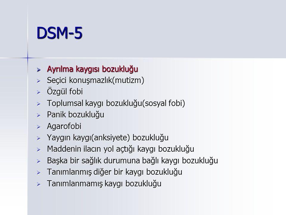 DSM-5 Ayrılma kaygısı bozukluğu Seçici konuşmazlık(mutizm) Özgül fobi
