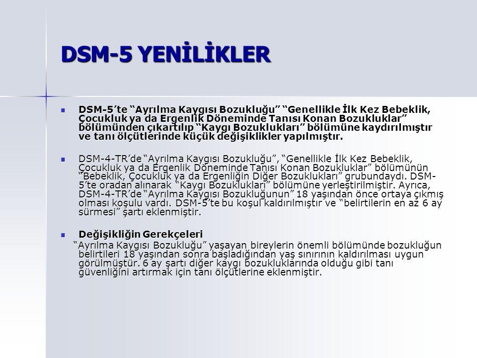 DSM-5 YENİLİKLER
