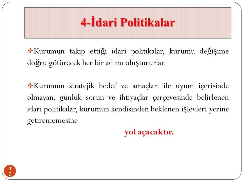 4-İdari Politikalar Kurumun takip ettiği idari politikalar, kurumu değişime doğru götürecek her bir adımı oluştururlar.