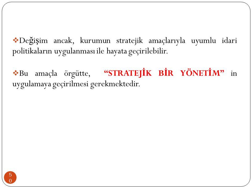 Değişim ancak, kurumun stratejik amaçlarıyla uyumlu idari politikaların uygulanması ile hayata geçirilebilir.