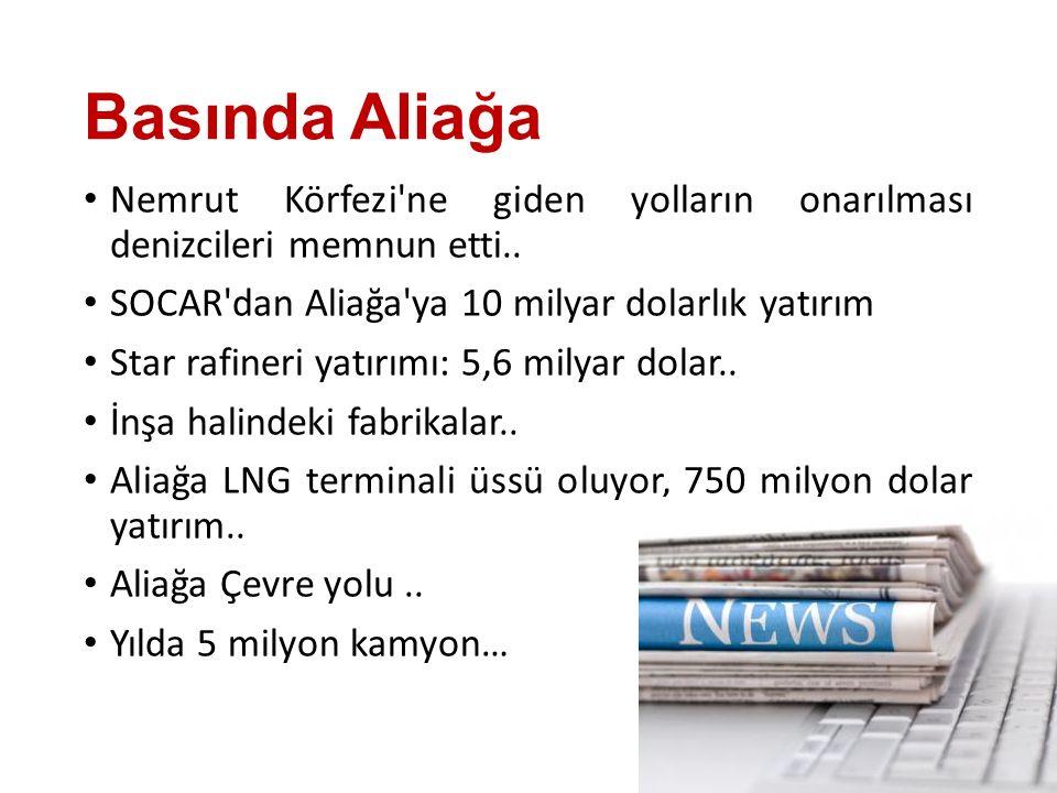Basında Aliağa Nemrut Körfezi ne giden yolların onarılması denizcileri memnun etti.. SOCAR dan Aliağa ya 10 milyar dolarlık yatırım.